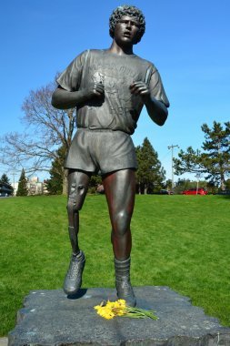 Terry Fox memorial statue,Victoria BC,Canada.March 3rd 2015.The Marathon of Hope run was and still is a major  fund raiser for cancer.Terry Fox is Canada's most prominent person.