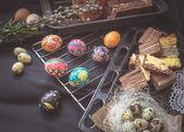 Fényképek Húsvéti csendélet hagyományos ünnep elemekkel