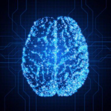Brain. Background with brain. The concept of thinking. Brain neurons. Abstract technology background
