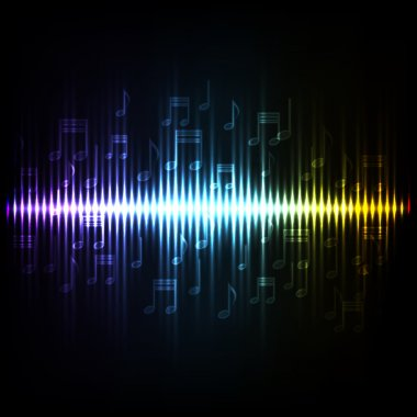 Sound waves oscillating glow light. Abstract technology background