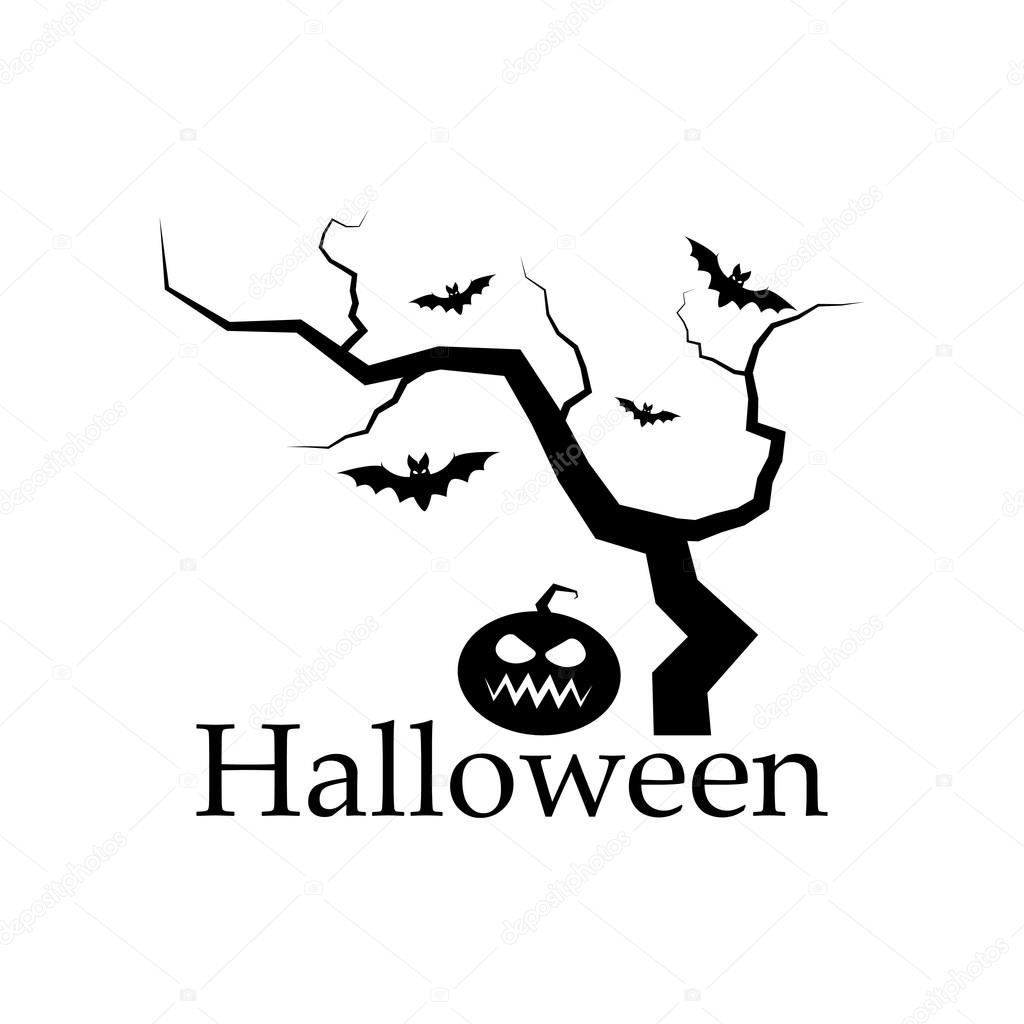 spooky silhouette of halloween tree pumpkin and bats vector design elements stock vector