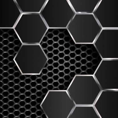 geometric pattern of hexagons with black metal plates