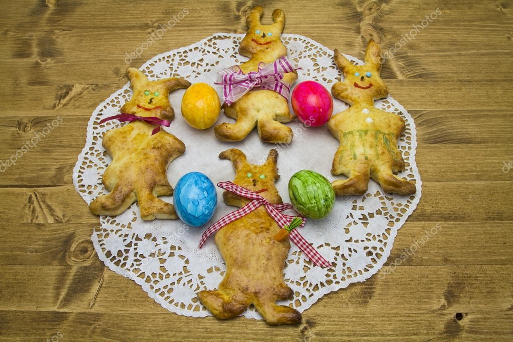 Funny bunnies made from yeast dough