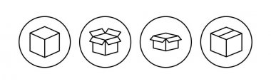 Box icon set. box vector icon, package, parcel icon