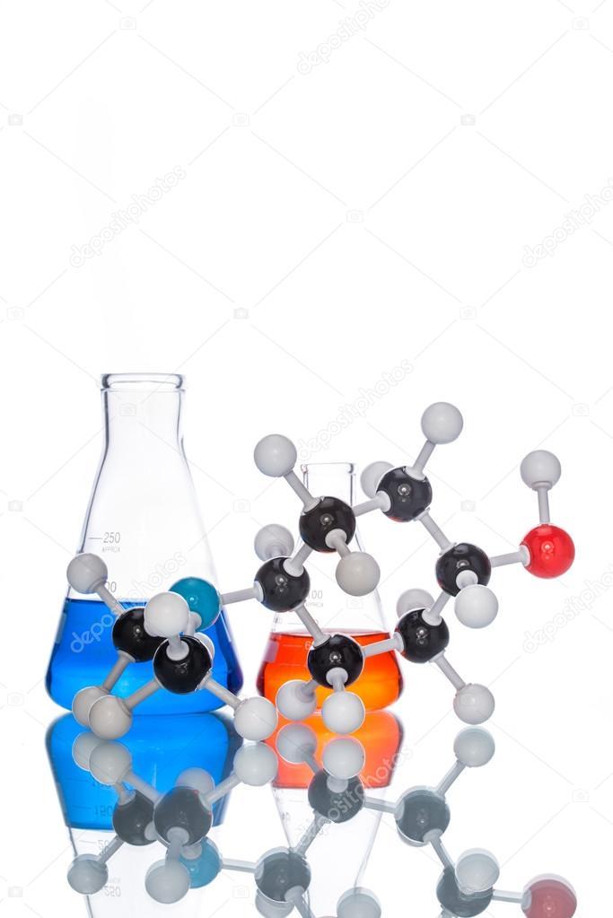Estructura Molecular Y El Líquido Colorido Foto De Stock