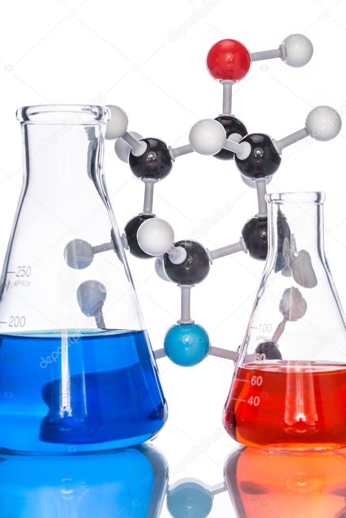 Estructura Molecular Y El Líquido Colorido Fotos De Stock