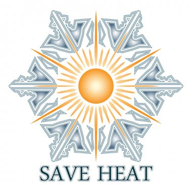 Save heat postcard with sun and snowflake
