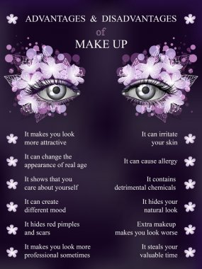 Advantages and disadvantages of makeup, violet