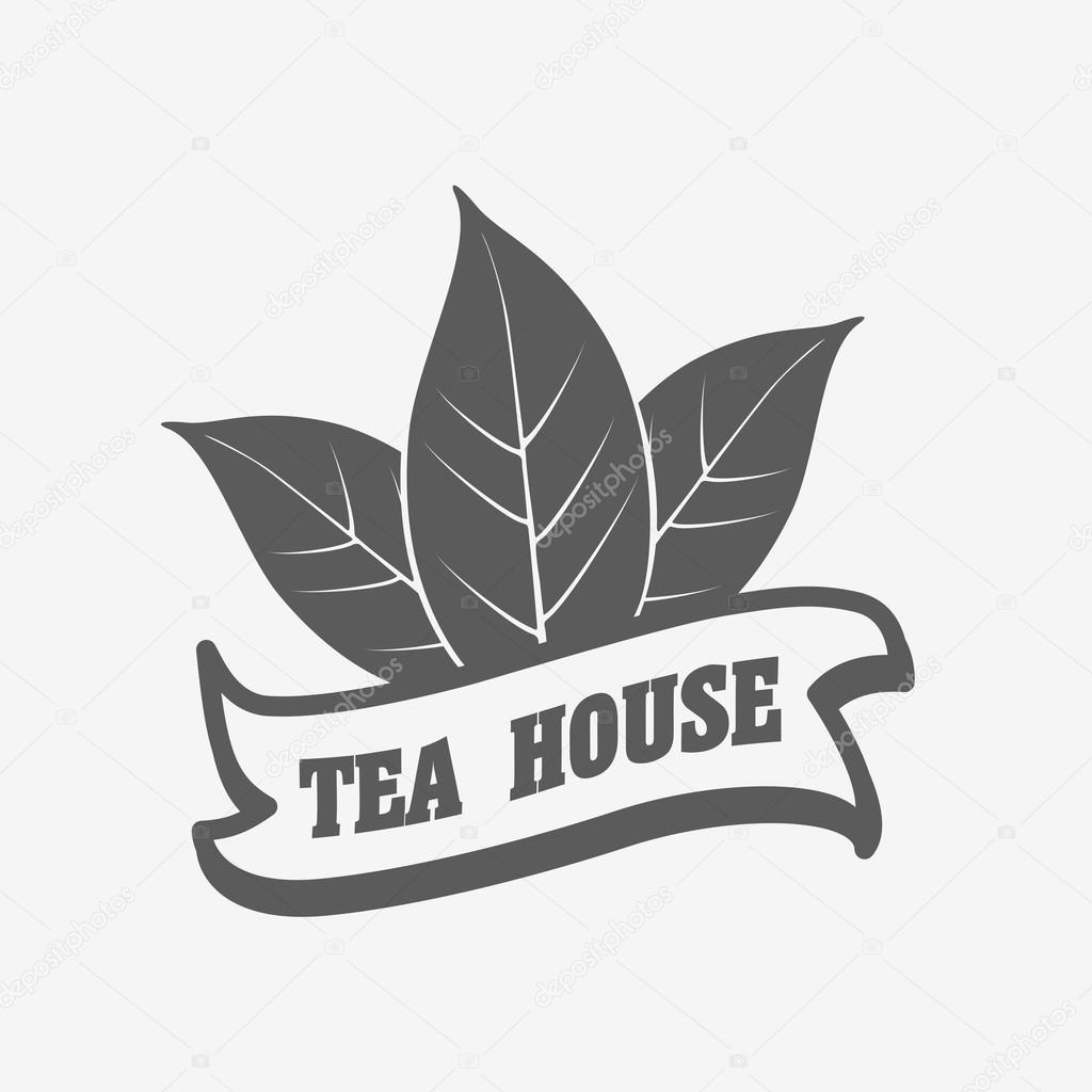 Tea House Logo Label Or Badge Vector Template With Two