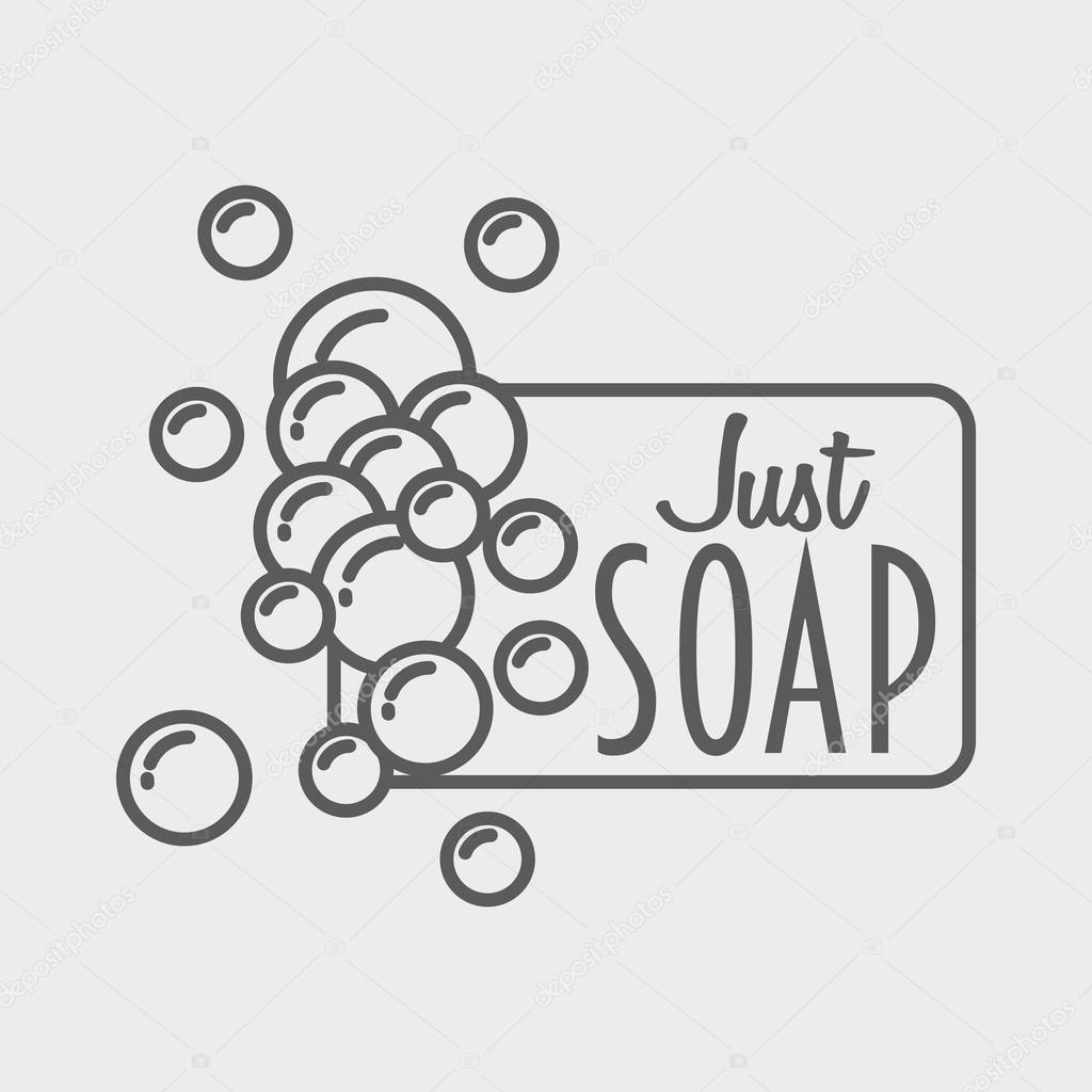 soap logo, badge or label design template with foam — stock vector