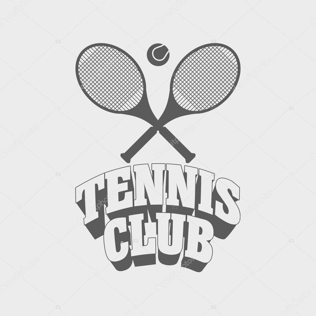 Tennis Club Vintage Abzeichen, Symbol oder Logo Design-Vorlage mit ...