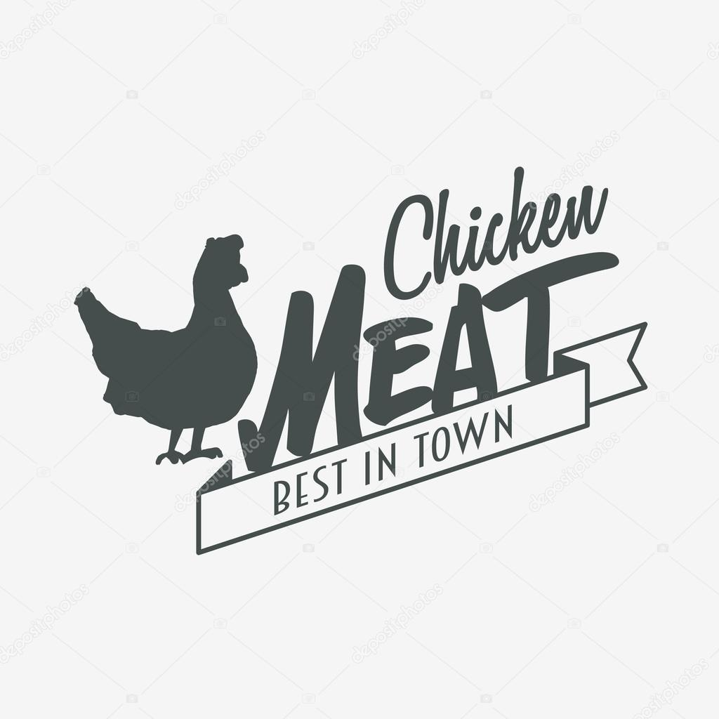 Chicken meat logo or label design template — Stock Vector ...