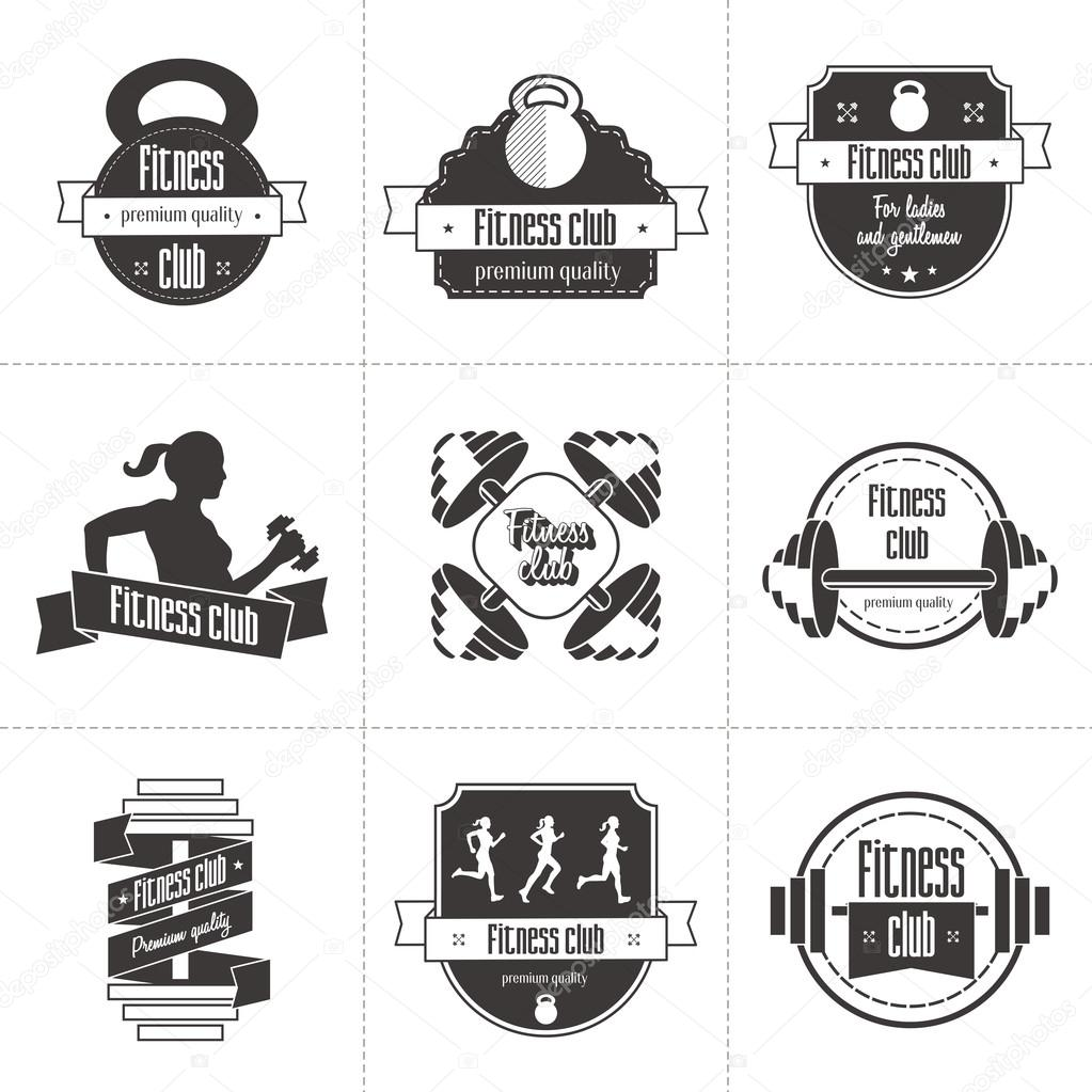 Vector set of sports and fitness club logo athletic labels and athletic labels and badges templates gym bodybuilder fit man athlete icon can be used to design business cards shop windows posters flyers etc reheart Choice Image