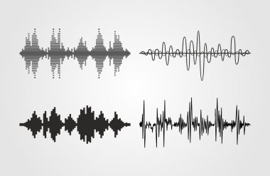 Set of vector sound waves. Audio equalizer technology, pulse musical. Can be used in club, radio, pub, party, concerts, recitals or the audio technology advertising background. stock vector