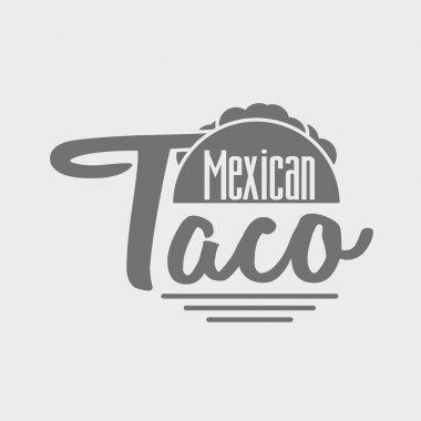 Taco icon or logo concept. Vector dark grey icon on light grey background. clip art vector