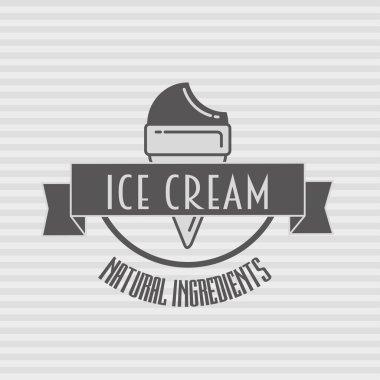 Ice cream vintage retro label, badge or logo concept