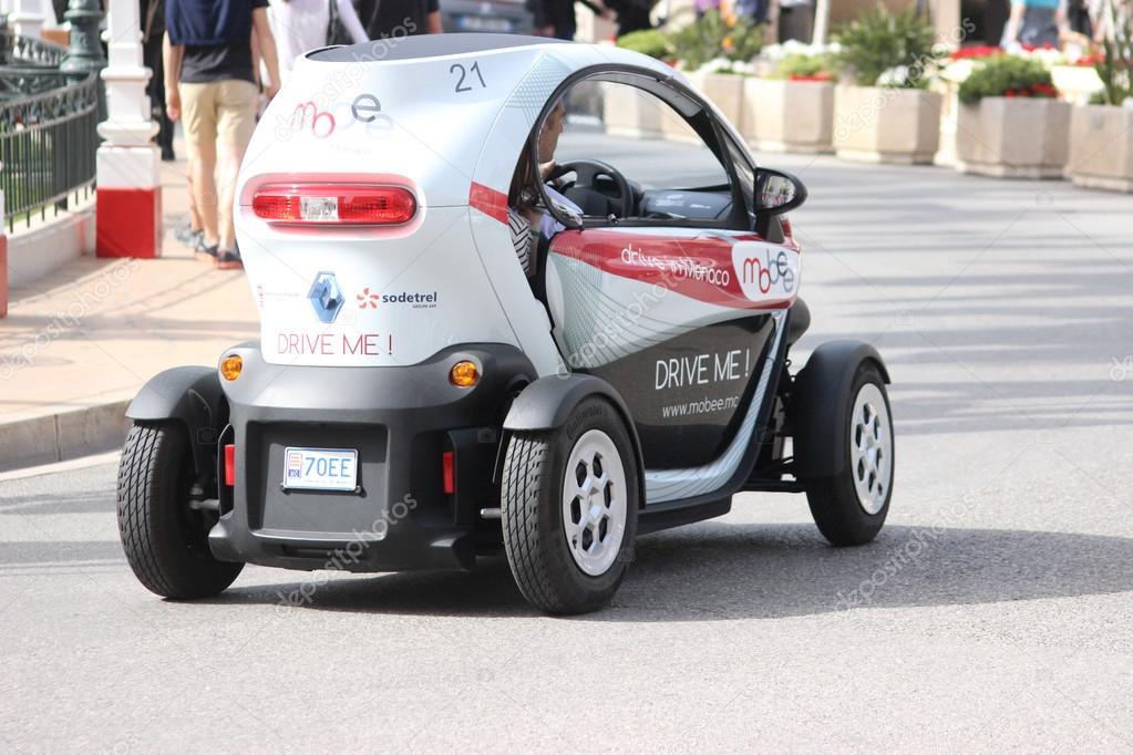 Elektrische Auto Renault Twizy Achterzijde In Monte Carlo Monaco