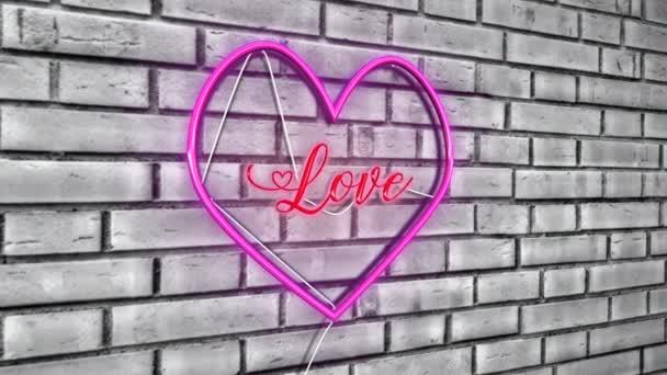 Liebe im Herzen 3D Text Neon mit rosa Herzform Design Zeichen Animation auf weißem Ziegelhintergrund - 4K Ultra