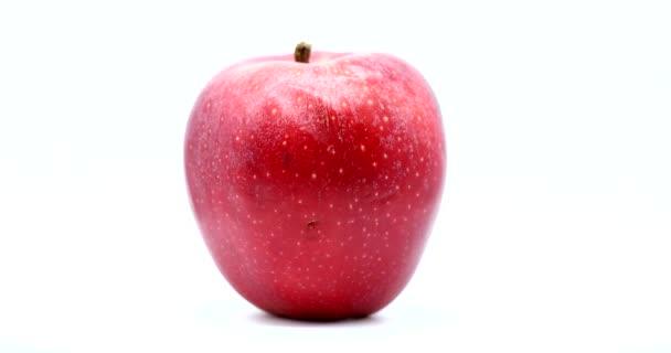 Organické červené jablko rotující na bílém pozadí, zblízka pohled - Makro Shot. Rozlišení DCi 4K