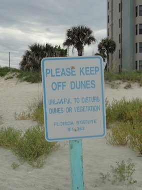 Please Keep Off Dunes Sign