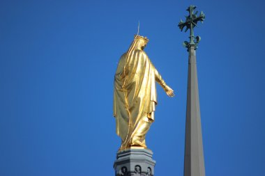 Golden Statue of Virgin Mary in Lyon, France