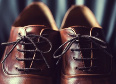 Close up of brown leather mens shoes