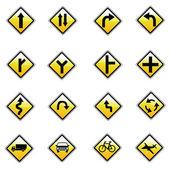 gelbe Verkehrsschilder, Verkehrszeichenvektor auf weißem Hintergrund