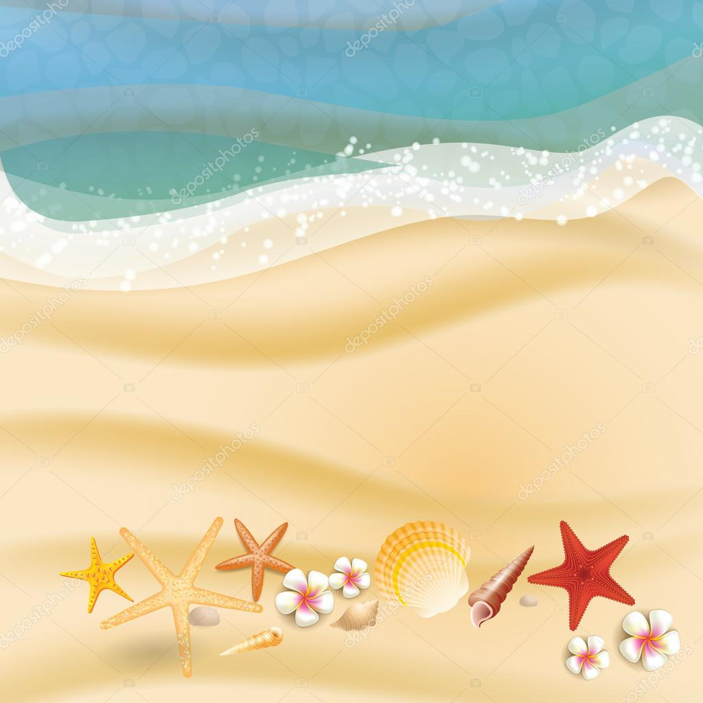 Summer holidays illustration - sea on a beach sand a sunny seascape vector