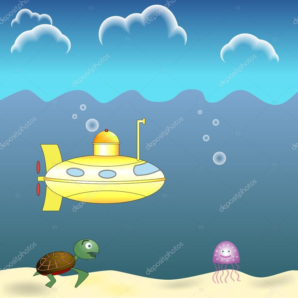 Submarine tutrle and jellyfish