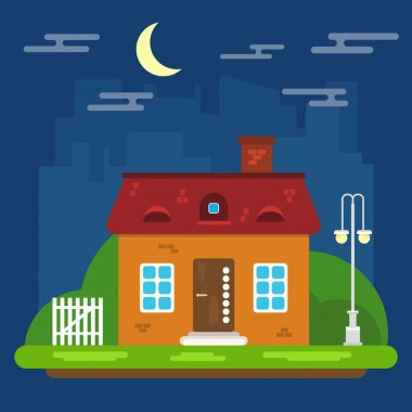 Vector Summer Night Landscape with House in a Flat Design
