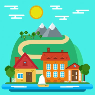 Vector Summer Landscape with House in a Flat Design