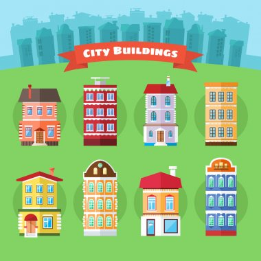 Set of Vector City and Town Buildings