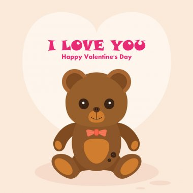 Vectori Teddy Bear St. Valentine's Day Card