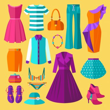 Women Clothes Icons Flat Set With Dress and Accessories