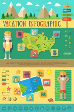 Infographic with Travel Icons Set