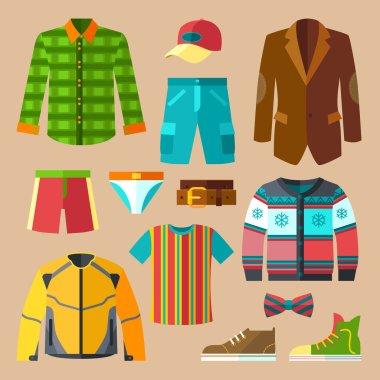 Flat Clothing Icons Set for Men