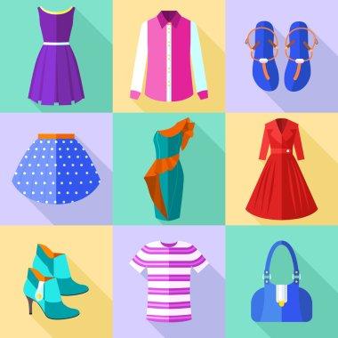 Woman Clothing Icons Set