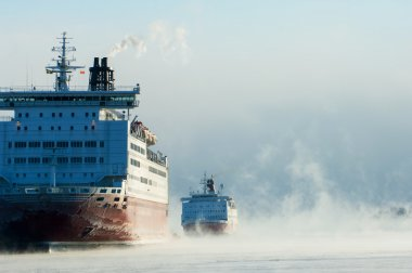 Icebreaking ferries arriving at Helsinki port