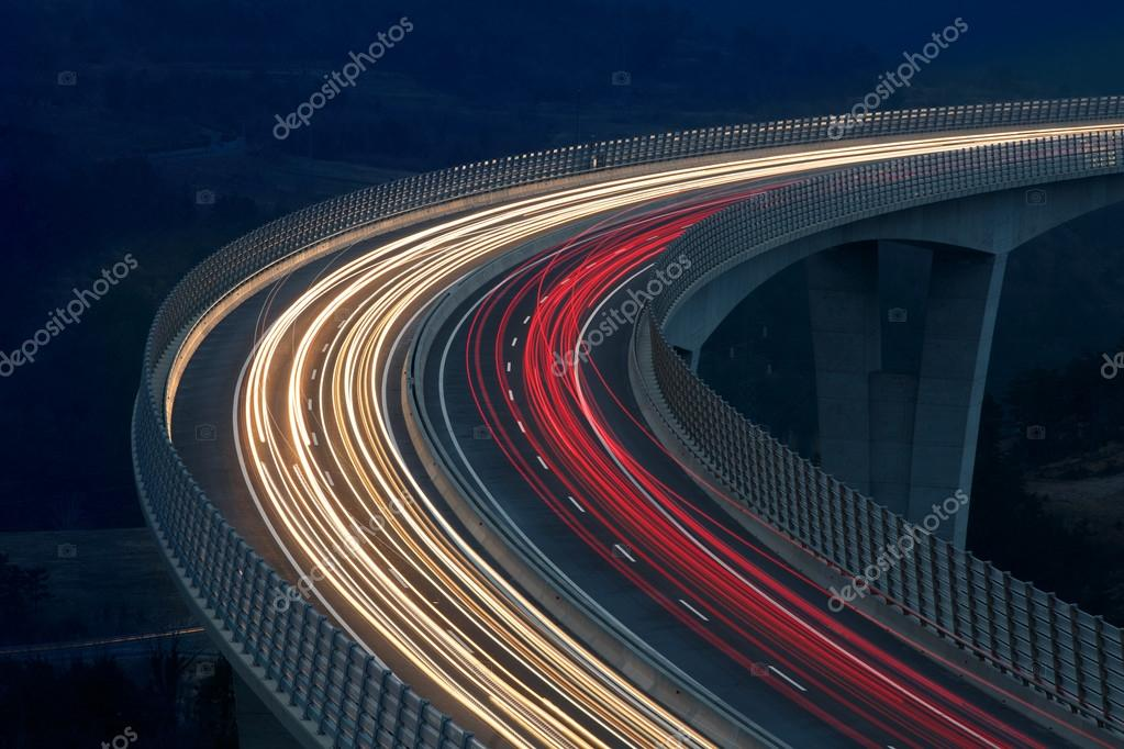 Blurred lights of vehicles