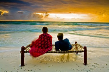 Romantic couple on tropical beach