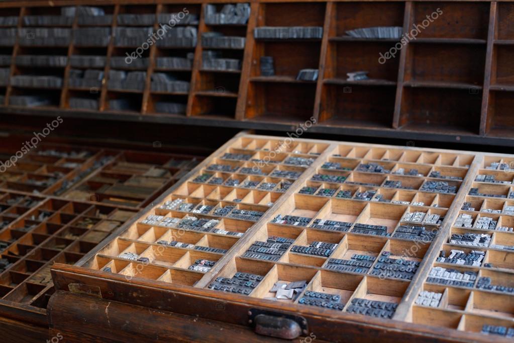 Metal printing press letters