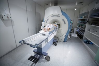 MR scanner in a hospital, with patient being scanned