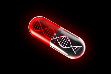 Genetic Medicine isolated on black