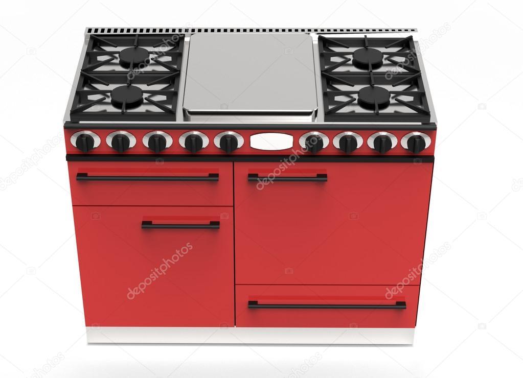 Moderno rojo estufa de gas con hornos y fogones foto de - Estufa camping gas ...