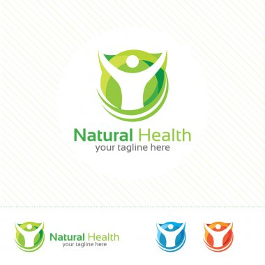 Abstract natural health logo. Nature health symbol vector.