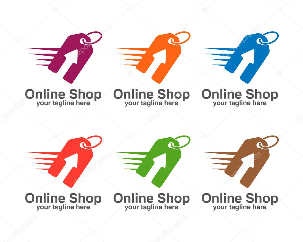 Online shop logo template. Price tag vector design. Arrow and price tag symbol.