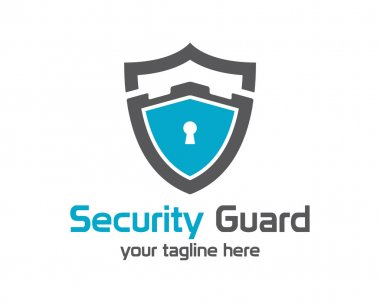 Security guard logo design vector. Security protection shield symbol . Secure shield icon vector. Privacy lock icon . stock vector