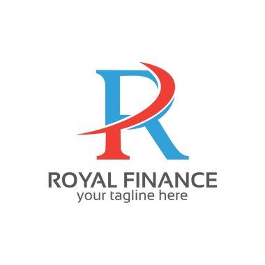 Letter R logo design vector. Letter R symbol vector in two color.