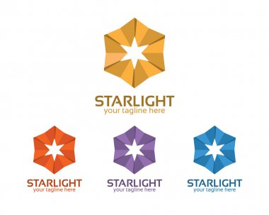 Abstract hexagonal star symbol logo vector. Simple and clean flat design of geometrical star icon.