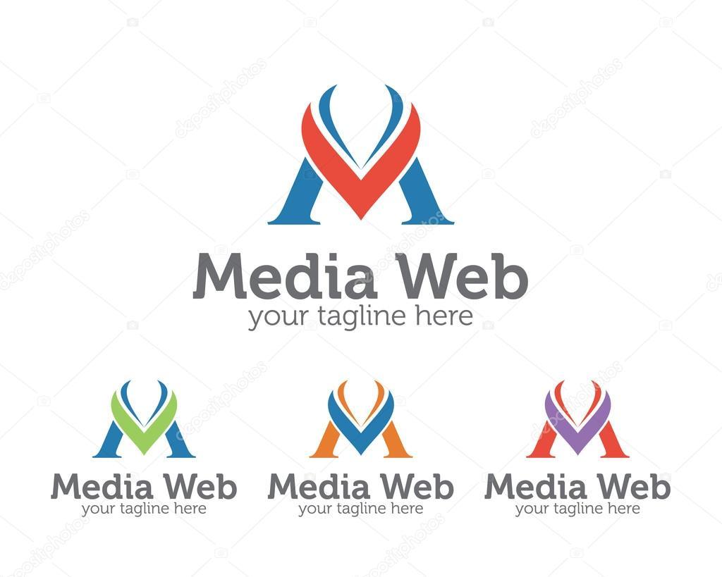 ビジネス企業の手紙 m ロゴ デザイン テンプレートです シンプルでクレ